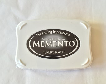 Black Tuxedo Memento ink pad, fast drying ink, Tuxedo Black, ink for coated paper, scrapbooking, mixed media ink, memento stamp pad, Black