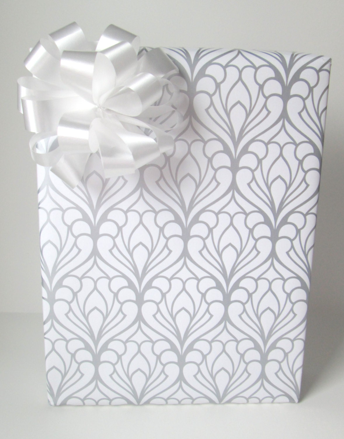 Art Deco Damask Wedding Wrapping Paper in Silver and White 10