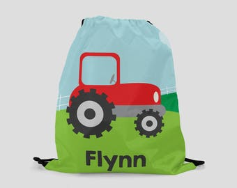 Tractor Drawstring Backpack - Personalized Bag - Child Size - Gift for Kids - Farm Bag Red Tractor Custom Made with Child's Name
