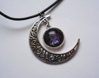Crescent moon galaxy necklace pendant handmade
