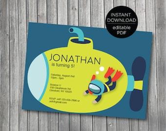 Under The Sea Printable Birthday Invitation | Instant Download | Edit Yourself with Adobe Reader | Nautical | Submarine Invite