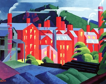 Jersey Silkmills Painting by Oscar Bluemner Art Reproduction