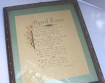"Original 1920's FRAMED ARTWORK with Handwritten Poem ""April Rain / Showers - R.  LOVEMAN"
