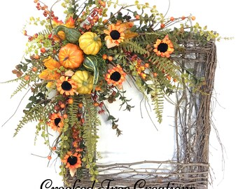 Fall Wreath, Fall Decor, Fall Door Wreath, Fall Wreaths, Sunflower Wreath, Square Wreath, Fall Floral, Fall Door Decor, Wreath For Fall