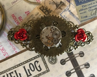 Steampunk, Hair Clip, Steampunk Hair Clip, Hair Accessories, Rhinestones, Filagree Clip, Bling Hair Accessories