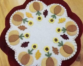 Sunflower and Pumpkin Candle Mat Wool Appliqué Handmade Penny Rug