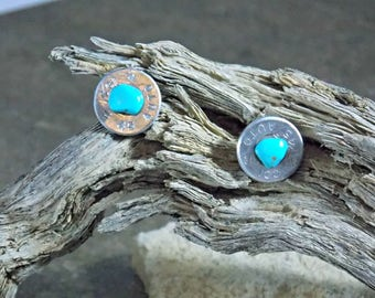 45 Auto turquoise earrings/bullet jewelry