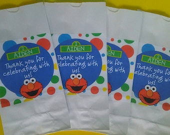 PERSONALIZED STICKERS ONLY 20 Personalized Sesame Street Elmo Party Favor Bags Goody Bags Treat Bags Popcorn Bags Loot Bags