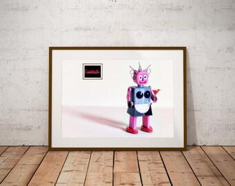 Robot Art Print, Female Robot Poster, Robot Maid Art, Robot Toy Art Print, Robot Toy Poster, Tin Toy Robot Art, Robot Print, Robot Drinking,