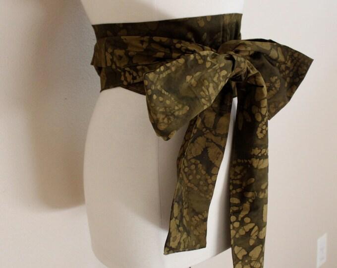 eco chic cotton obi olive batik print ready to ship