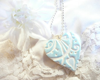 Something Blue Wedding Jewelry Pendant Necklace, Wedding Bouquet Charm, Bride Gift, Bridesmaid Gift, Optional Ball Chain, Polymer Clay