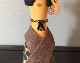 4 inch Folk Art Wooden Doll Figurine