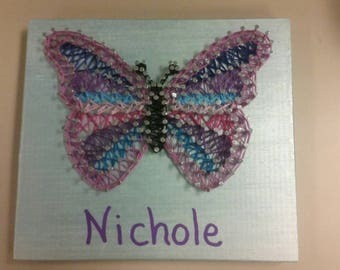 Butterfly string art wall plaque