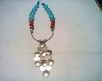 Turquoise and Carnelian with silver statement necklace.