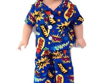 18 Inch Boy Doll Clothes, Super Hero Boy Doll Pajamas, Boy Doll Pajamas, Summer Doll Pyjamas