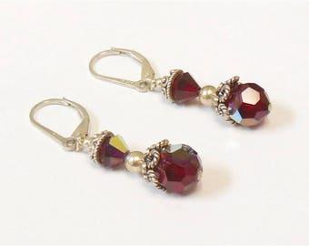 Vintage Sterling Silver Red Glass Aurora Borealis Pierced Dangle Earrings