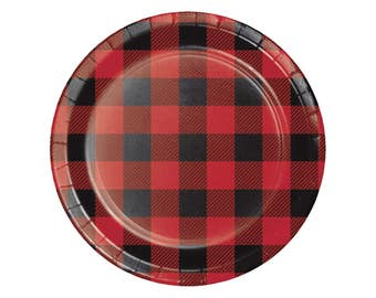 "7"" Buffalo Plaid Plates - Lumberjack Party - Buffalo Plaid Baby - Woodland Baby Shower - Baby Lumberjack - Bear Baby Shower - Flannel - Set"