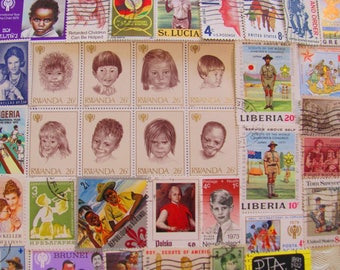 The Kids Are Allright 50 Vintage Childrens Postage Stamps Children Girls Boys Kids Scouts Guides Baby Shower Mom Youth of Yesterday Family