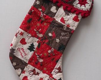 Christmas Stocking with Granny Square Trim