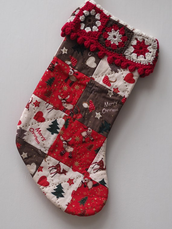 Christmas Stocking with Granny Square Trim