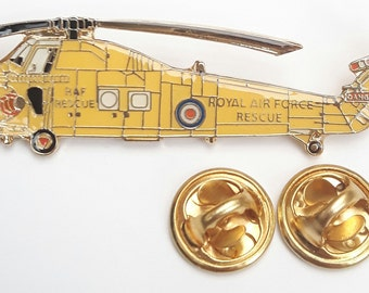 RAF Seaking Rescue Helicopter Side View Lapel Pin Badge