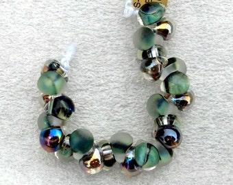 10 Teardrop Handmade Lampwork Beads - Exotic Marsh Series (S-TMix76)