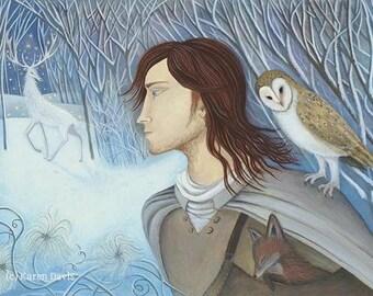 Travellers Joy/Winter/White Stag/Owl/Traveller/Print by Karen davis