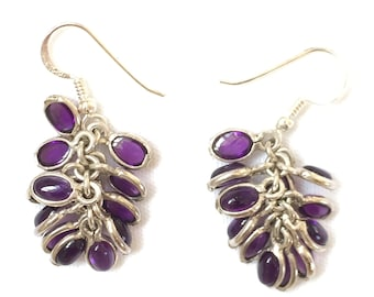 Amethyst Cabochon Cluster Earrings set in Sterling Silver