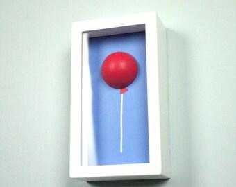 3D Acrylic Painting - Red Helium Balloon on Blue Sky Framed Shadowbox