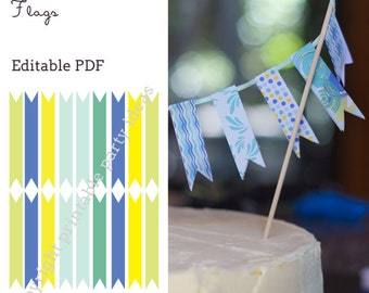 Twisting by the Pool Flags - editable PDF - add your own text