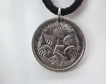Australian Coin Necklace, 5 Cent, Coin Pendant, Leather Cord, Men's Necklace, Women's Necklace, 2002