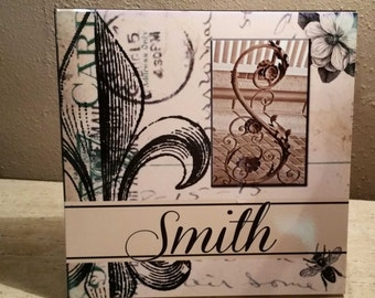 Personalized Architectural Letter Name with Fleur De lis, Magnolia, Bee Collage Background 12x12 Ceramic Tile
