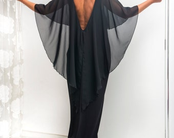 Black Backless dress, Maxi Dress, Caftan, openback dress, Party Dress, Caftan Dress, Abaya, Kaftan, Oversized dress, Elegant Dress