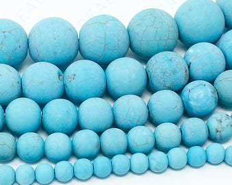 """Matte Turquoise Howlite Beads Natural Gemstone Round Loose - 4mm 6mm 8mm 10mm 12mm - 15.5"""" Strand"""