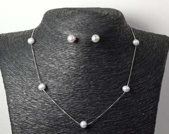 Grey Pearl Necklace Sterling Silver Chain- 22 inches Adjustable 6.0-9.0mm Light Gery Freshwater Pearl Necklace - Free Matching Earring