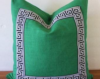 NEW- Greek Key Trim Pillow - Pillow - Green Slub Linen- Navy/White or Black/White Greek Key Trim