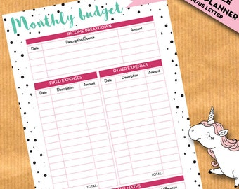 Monthly Budget planner, Financial planner, expenses tracker, binder - insert for filofax, kikki.K, home binder, organizer - PRINTABLE PDF