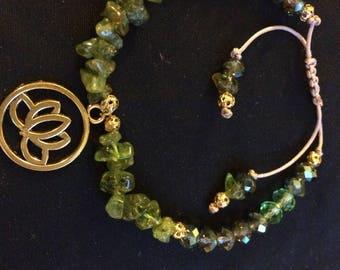 Peridot and Lotus bracelet