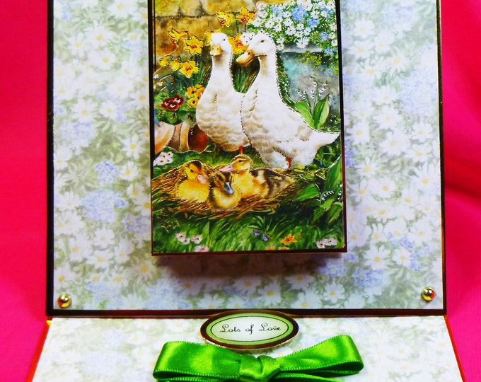 3D Decoupage, Birthday Card, Greeting Card, Easter Card, Spring Time, Ducks, Easel Card, Sister,Mum, Daughter, Niece, Aunt, Friend