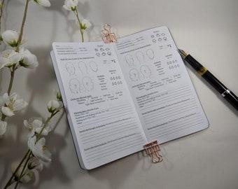 Headache or Migraine Tracker Personal sized TN Insert Traveler's Notebook Insert Fountain Pen Friendly Insert