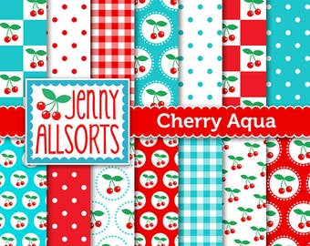 Cherries & Aqua Digital Scrapbooking Paper Pack 14 printable pages Instant download, digital paper tags cards invites background papercraft