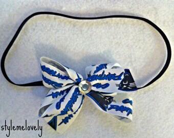 Carolina Panthers Baby girl Boutique Bow Elastic Headband