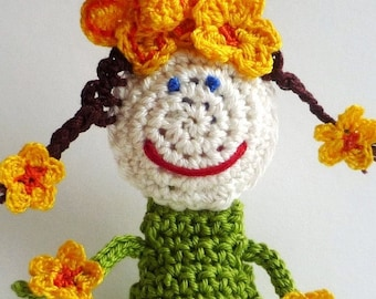 Crochet Toy for Girl - Little Flower Doll - Daffodil Flower Fairy - Flower Ornament - Nursery Decor - Birthday Gift -  Baby Shower Gift