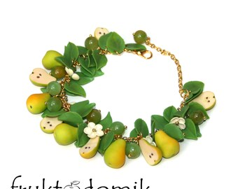 Polymer clay Pear bracelet Pears Wedding bracelet Handmade bracelet Polymer clay jewelry by fruktodomik