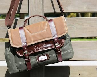 Waxed Canvas Briefcase bag - slim laptop bag handmade by Alex M Lynch - 010091