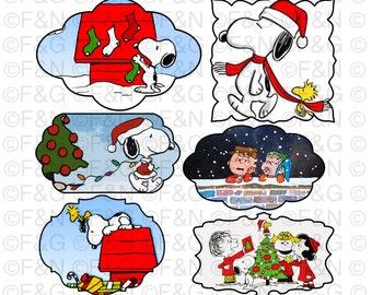 CHRISTMAS PEANUTS Digital TAGS/Labels, Digital Graphics, Christmas, Xmas, Winter, Peanuts, Snoopy, Craft, Scrapbooking, Cards - Pack 2