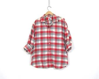 Red & Gray Loop Collar Shirt Plaid Button Up Vintage Sears Washfast Pilgrim 1960s Oxford Cotton Long Sleeve Shirt Men's Size XL
