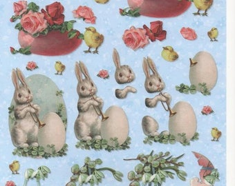 19 - 1 image cutting vintage white Easter Bunny and chicks