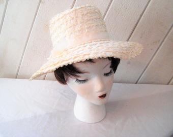 Off white rafia straw hat, wide brim sun hat, formal church hat, summer hat, mid century, resort beach hat, 50s 60s, Beresford hat, 22 inch