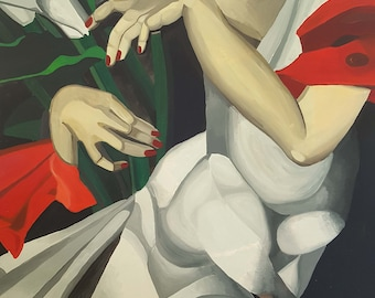 Art Deco Lady with lillies